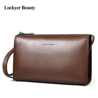 LUCKYER BEAUTY Business Bag Handbag Men Leather Clutch Vintage Cow Leather Long Wallet With Chain Male Luxury Designer