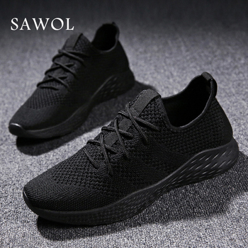Men Casual Shoes Brand Men Shoes Men Sneakers Flats Mesh Slip On Loafers Fly Knit Breathable Plus Big Size Spring Autumn Sawol