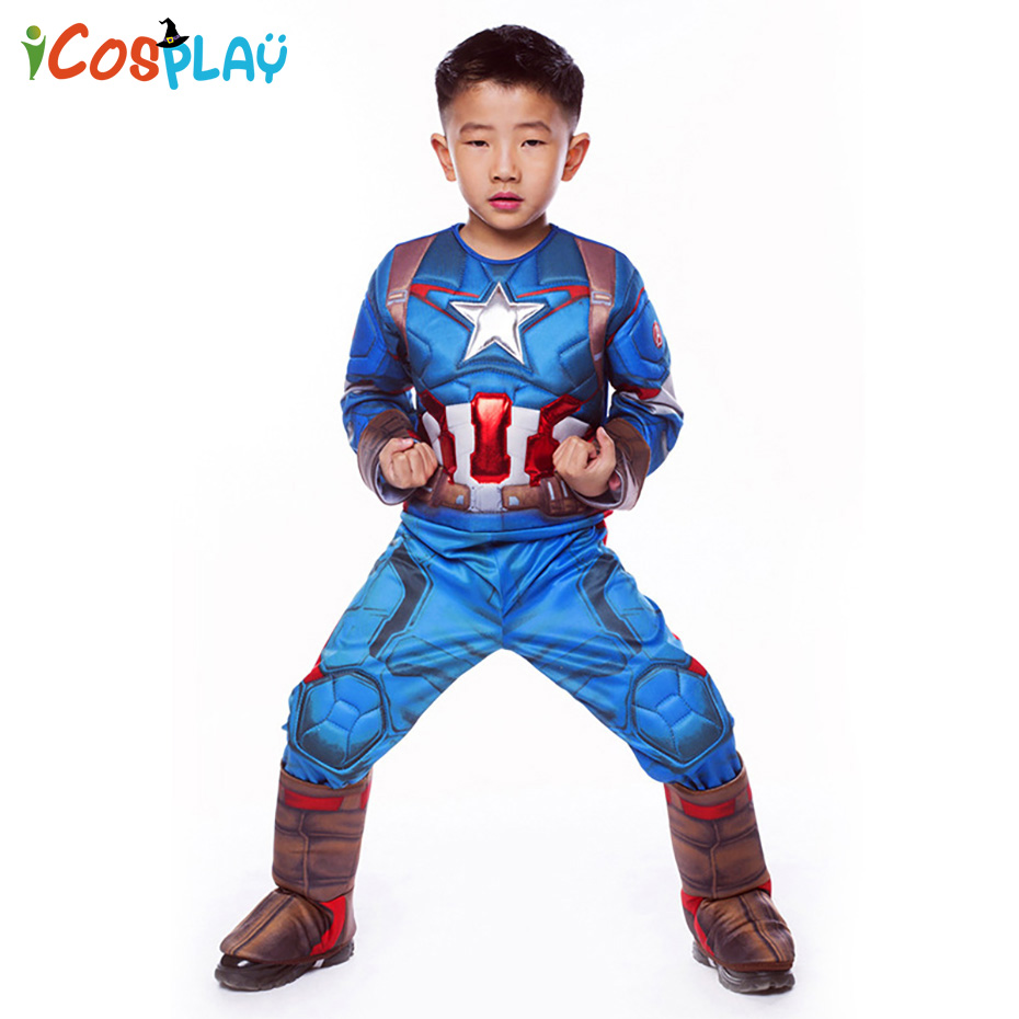 Captain America 2019 Halloween Costume Cosplay Costume Children Clothes Ball Party Performance Costume