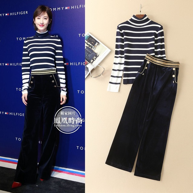 New Style Celebrity Fashion Women's <font><b>Set</b></font> Pant Ladies Turtleneck <font><b>Striped</b></font> Knitted Sweater+Golden Yarn <font><b>Velour</b></font> Pant Trousers(1Set)2pc