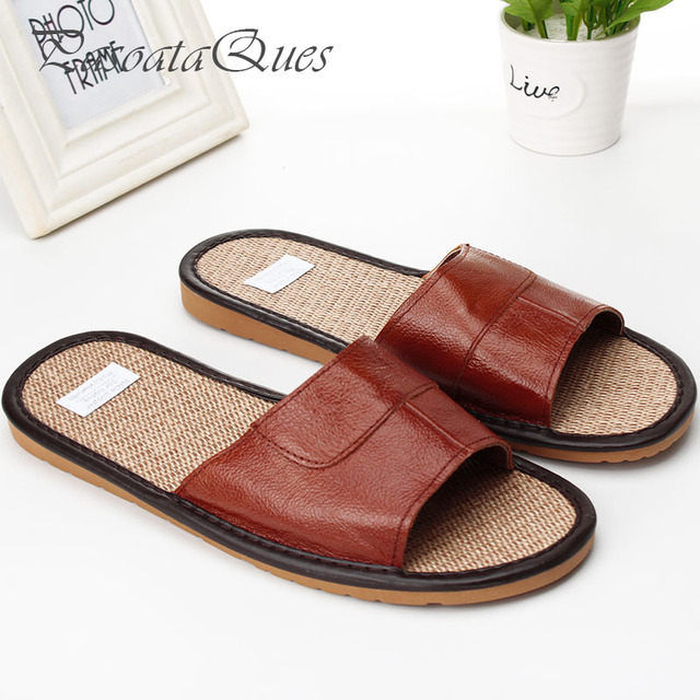 c496340fa365f5 Real Leather Men Slippers Peep Toe Summer Spring House Indoor Home  Breathable Women Shoes Pasoataques Brand Asspfle093