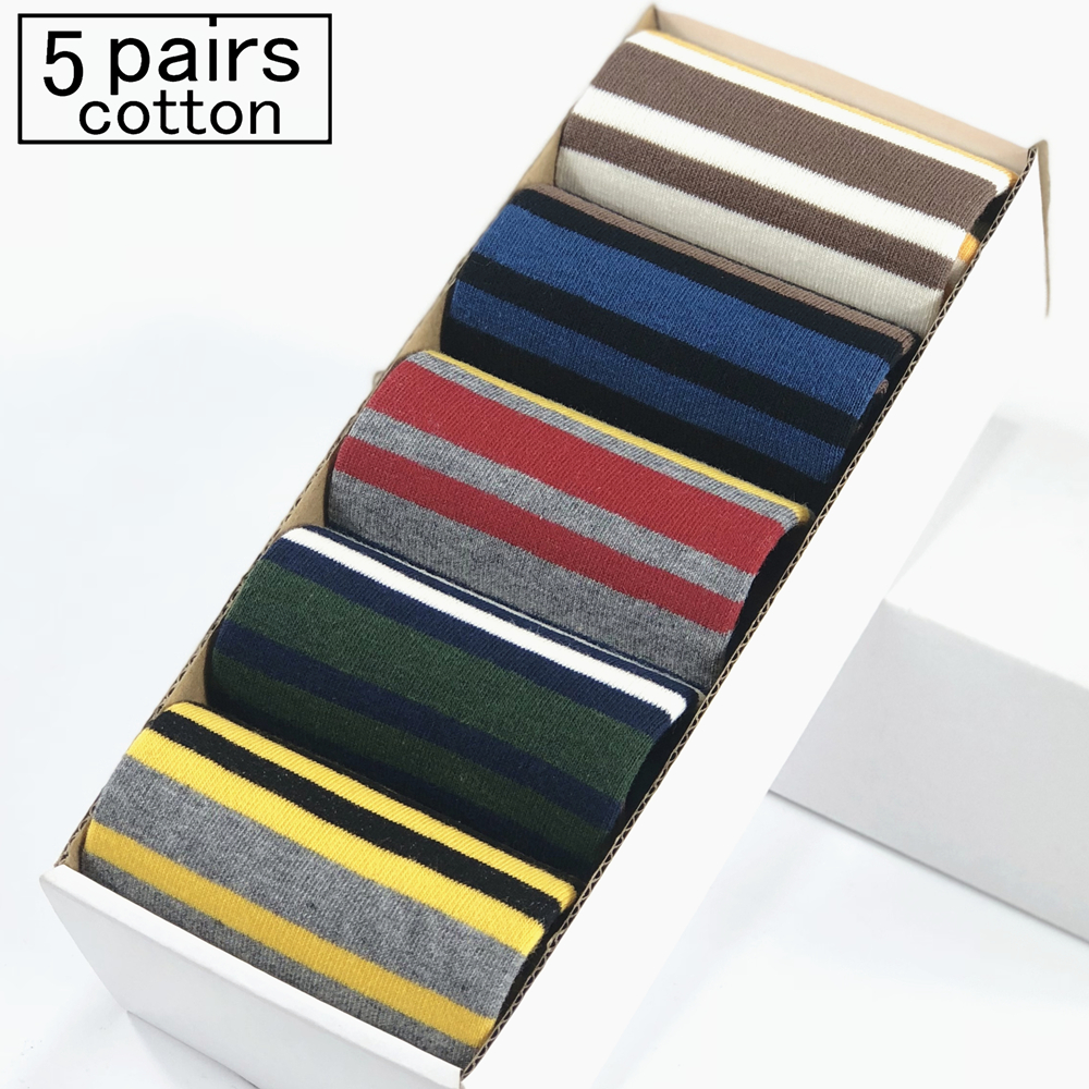 Casual Mens Socks Chromatic Stripe Five Pairs Of Socks Man With The Final Design Clothin ...