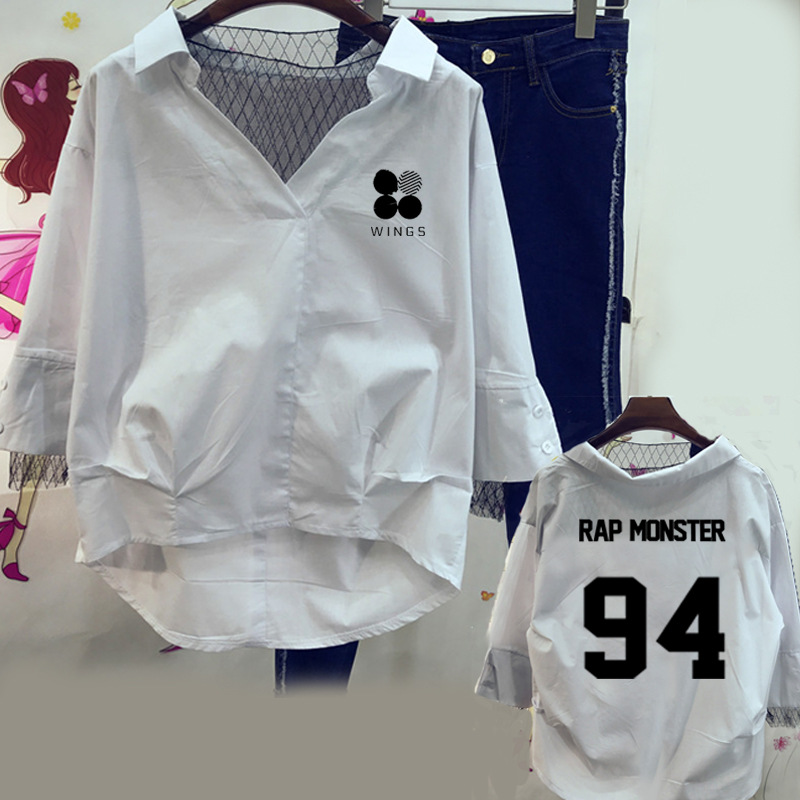 spring summer autumn women shirt BTS KPOP Korean version Lace Hedging Cotton White blue  ...