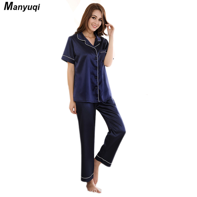 6ba1487fea Women s silk pajamas set navy olor short sleeve and long pants pajamas suit  home sleepwear pyjamas for women