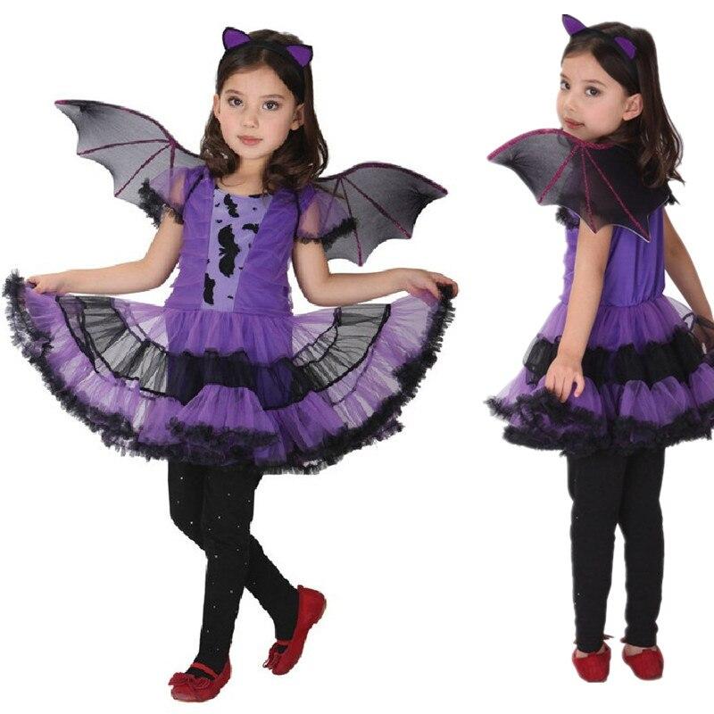 M~XL New Pretty Purple Bat Hallowean Cosplay Girl Kid Costume Dress ...