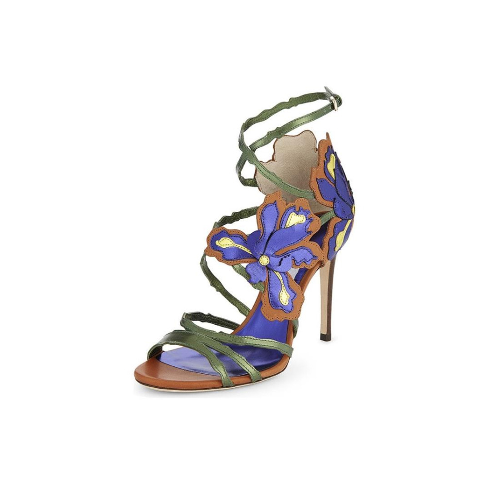 Hottest Selling Women Mixed Color Flower Decoration Hollow Out Sandals Women Summer Ankle Buckle Strap High Heel Party Shoes punk style solid color hollow out ring for women
