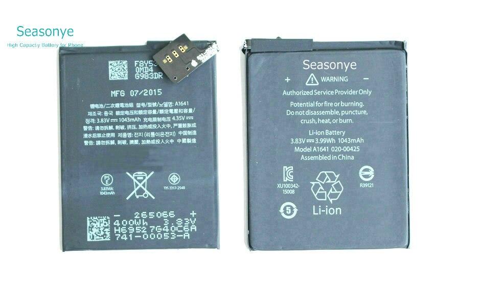 Seasonye 1043 mAh/3.99Wh A1641 Remplacement Li-Polymère Batterie Pour Ipod tactile 6ème Génération 6 6g Batterie Bateria Batterij