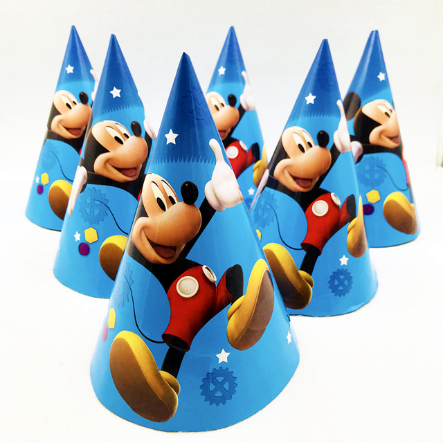 6pcs Mickey Mouse Birthday Party Adult Disposable Paper Hats Caps