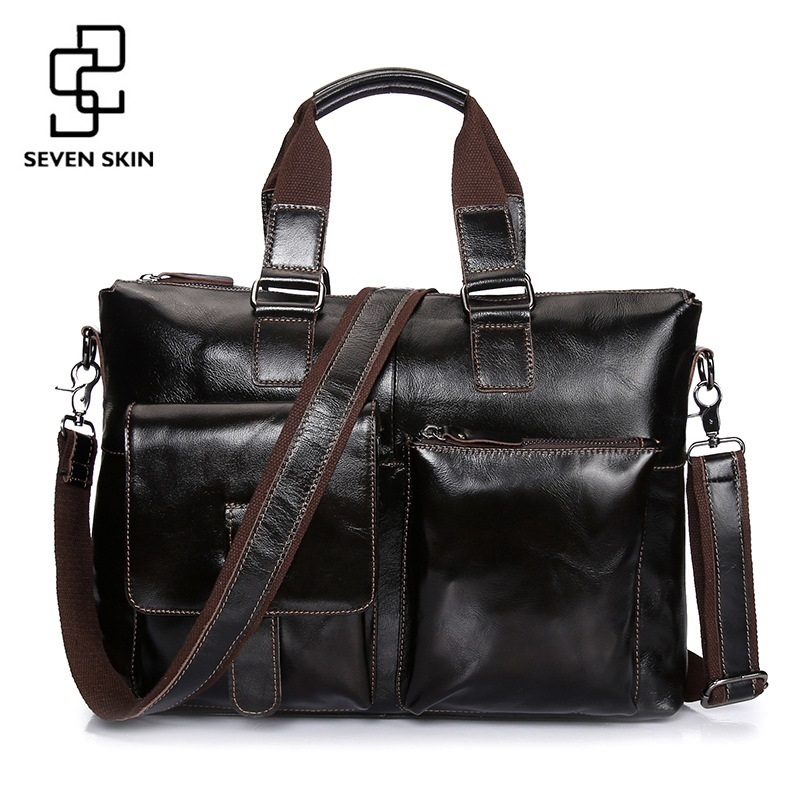 SEVEN SKIN Brand Men Genuine Leather Bag Business Men Bags Briefcase Luxury Shoulder Bags Laptop Crossbody Messenger Bag Handbag genuine leather men bags messenger bag leather man shoulder crossbody mens bag business laptop briefcase men handbag laptop bags