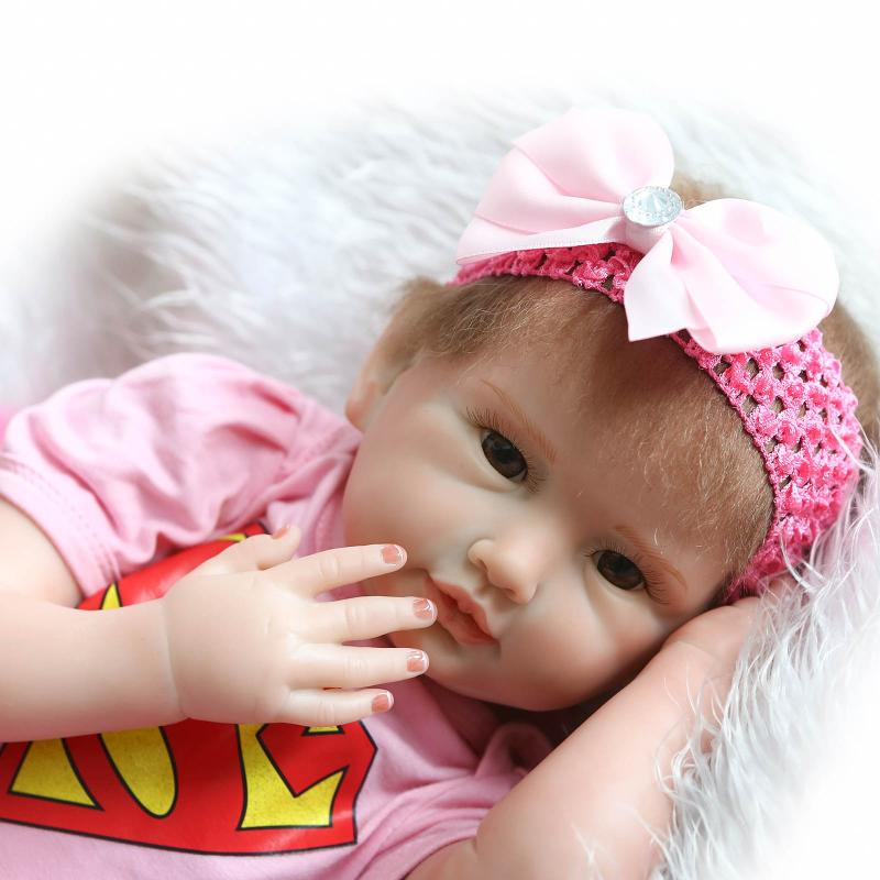 20 Realistic Reborn Doll Silicone-Reborn-Babies Boneca Girls Toys Gift,Cute Reborn Silicone Baby Dolls Looks so Real pursue pink brown silicone reborn baby dolls toys for girls 100 handmade reborn babies reborn boneca bebes reborn menina 55cm