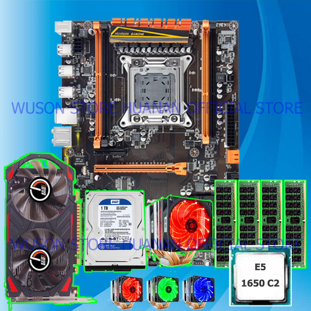 HUANANZHI X79 LGA2011 motherboard with M.2 slot discount motherboard bundle CPU Intel Xeon E5 1650 video card <font><b>GTX750Ti</b></font> 1TB HDD image