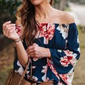 Autumn Tops 2016 Flare Sleeve Vintage Floral Print Blouses Sexy Ladies Fashion Blusas Off Slash Neck Off Shoulder Women Shirts