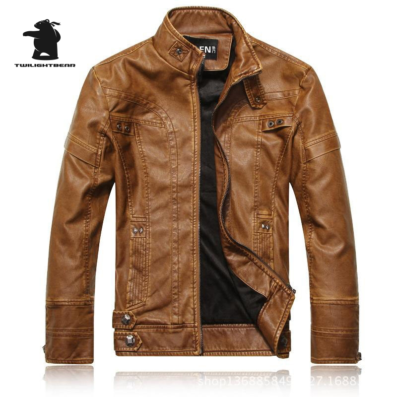 de819d352e5 New Winter Men s Leather jacket Fashion Stand Collar Casual PU Biker Jacket  Men leather Bomber Jacket Leater Coats M~3XL D40F805-in Faux Leather Coats  from ...