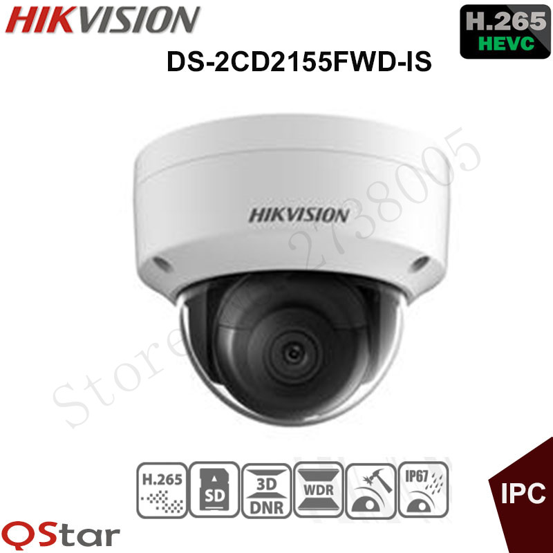 Hikvision Original English Version Surveillance Camera DS-2CD2155FWD-IS 5MP Dome IP Camera H.265 IP67 IK10 Support Audio Alarm hikvision new released 8mp h 265 network dome camera ds 2cd2185fwd i 3d dnr bullet camera 3840 2160 resolution ik 10 ip 67