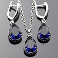 Lan Romantic Sliver-Plantrd Water Drop Shape Blue Sahhpire Stone Jewelry Sets For Necklace Pendant /Earring Free Shipping