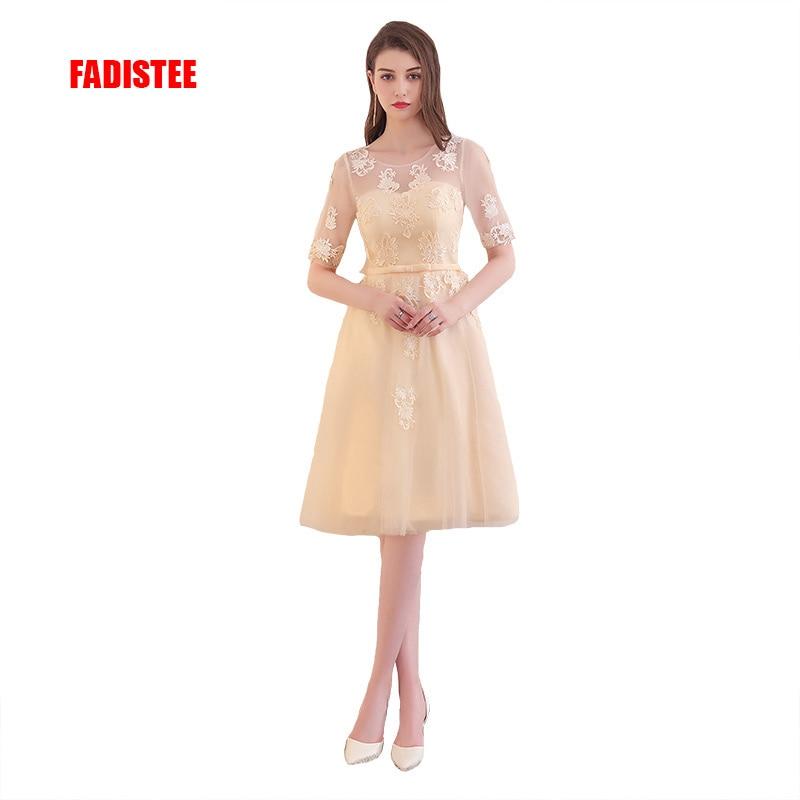 FADISTEE New arrival elegant party   prom     dress   Vestido de Festa appliques lace-up   dress   short sleeves   dress