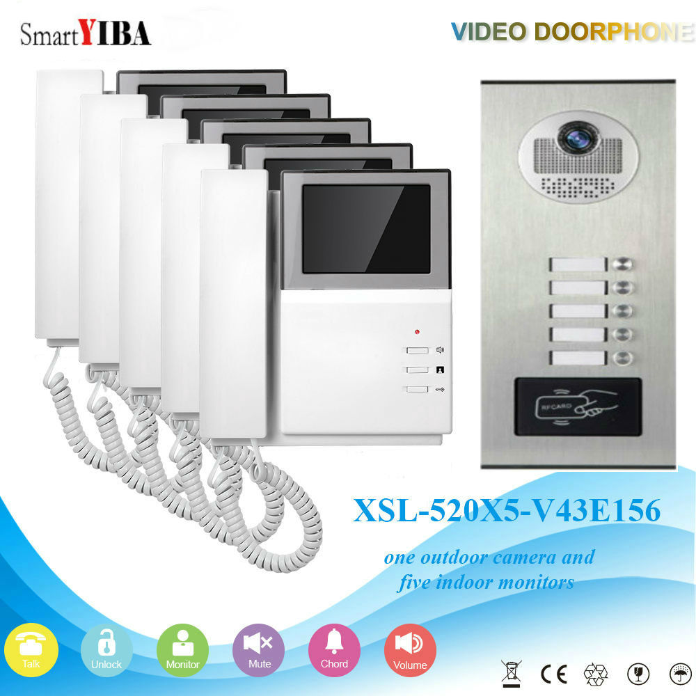 SmartYIBA Video Intercom 4.3 Inch Video Door Phone Doorbell Intercom System RFID Access Control Door Camera For 5 Unit Apartment