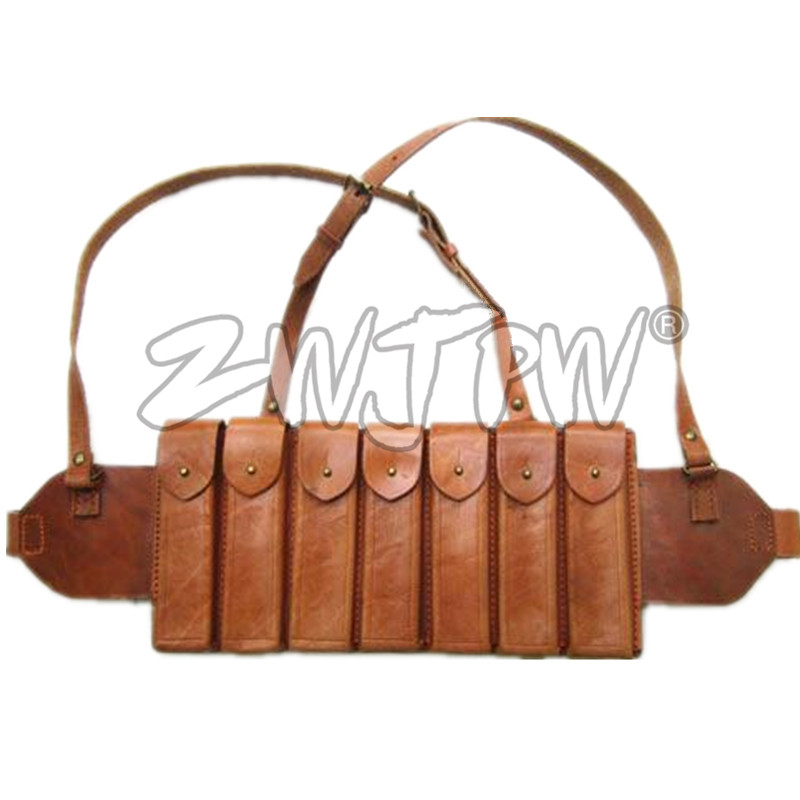 Reproduction WW2 China Chinese Army Carbines Bullet Bags Ammo Pouch 7 Clips Leather CN/104104
