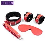 Restraints bondage bdsm Slave Handcuffs Sex Toys For Games Woman Bdsm Bondage Fetish Mask Red Exotic Accessories 3Pcs/Set