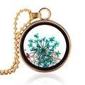 Мода ручной сухие цветы ожерелье натуральные растительные образцы ожерелье