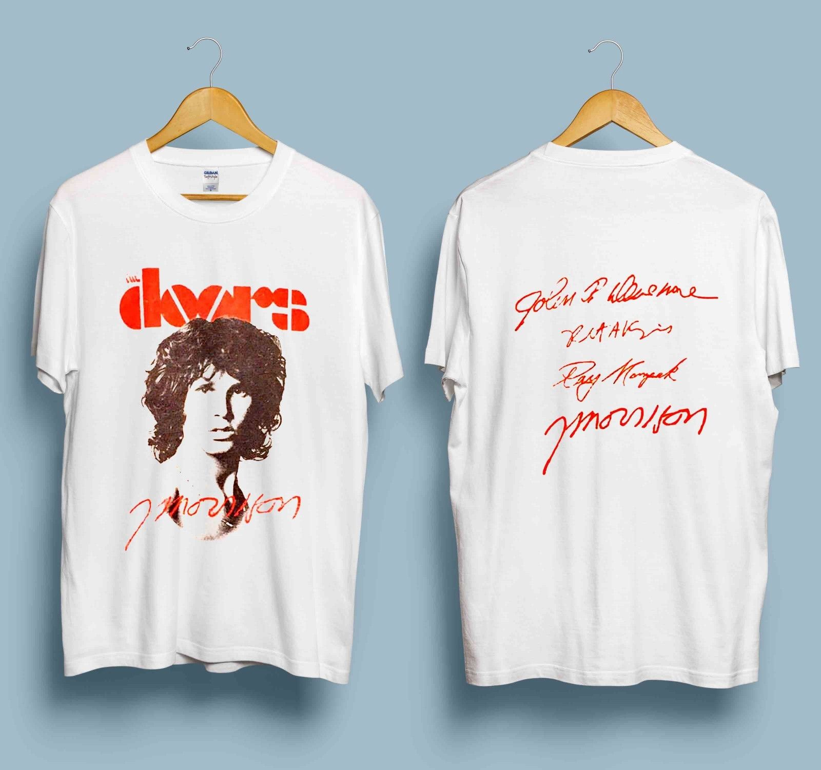 New reprint Vintage 1980 s Jim Morrison THE DOORS Gray S-3XL  Men Cotton T-Shirt Summer Short Sleeves T Shirt