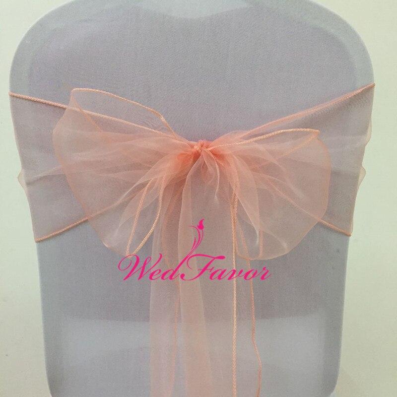 WedFavor 100pcs Peach Crystal Organza Chair Bows Wedding Chair Sash Ties For Hotel Banquet Decoration