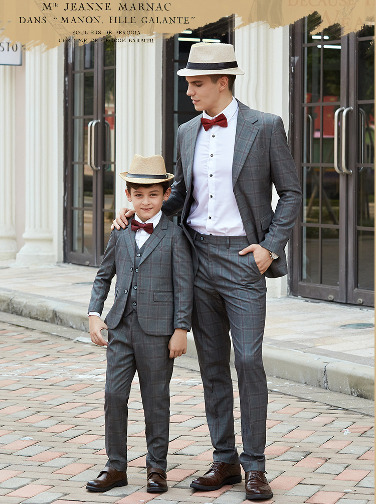 ad9f6bcb8 Family Matching Outfits Father Son Matching Clothes Boys Suits For Weddings  Costume Enfant Garcon Mariage Terno Masculino
