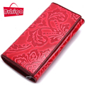 BVLRIGA Genuine leather wallet women card holder long women Purse clutch bag Designer high quality 3 folds luxury brand carteira