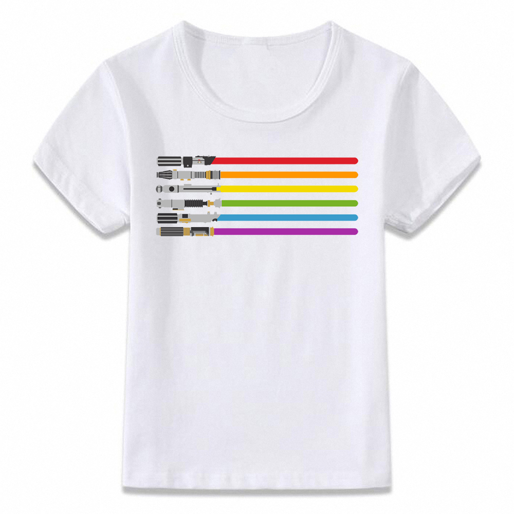 Kids Clothes T Shirt Star Wars Lightsaber Rainbow Children T-shirt For Boys And Girls Toddler Shirts Oal021