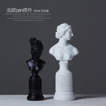 black white Nordic resin girls figurine vintage statue home decor crafts room decoration objects ornament resin lady figurines