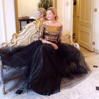 Elegant Black Long Tulle Skirts For Women To Formal Party Autumn Winter Tutu Skirt Puffy Custom