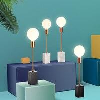 Nordic Marmor LED Tisch Licht Lange Pol Büro Dekorative Tisch Lampe Schlafzimmer Nachttisch Lampe Lesen Schreibtisch Licht Leuchten-in LED-Tischleuchten aus Licht & Beleuchtung bei