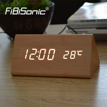 FiBiSonic Wood Wooden Digital LED Alarm Clock, Sound Control Desktop Clocks with Temperature, Electronic Display Home Decor