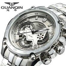 Original GUANQIN Hombres Famosos Hombres de la Marca de Reloj de Cuarzo Luminoso Reloj Del Negocio Impermeable Relojes Reloj de Pulsera de Acero Inoxidable