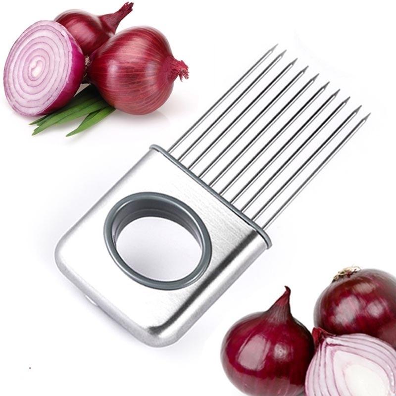 Newest Easy Onion Holder Slicer Vegetable tools Tomato Cutter Stainless Steel Ki