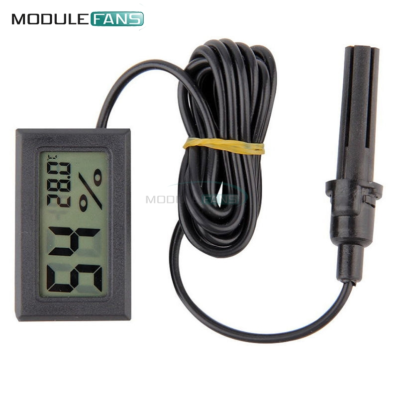 Amicable Professional Mini Probe Digital Lcd Thermometer Hygrometer Humidity Temperature Meter Indoor Digital Lcd Display Black Superior Performance