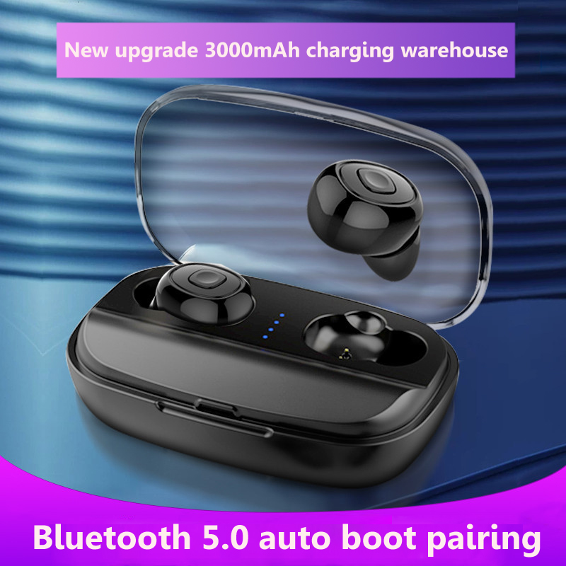 <font><b>TWS</b></font> Mini Dual V5.0 Wireless Bluetooth Earphones <font><b>6D</b></font> Surround Sound Stereo Earbuds Dual Microphone 3000mAh Power Bank Charging Box image