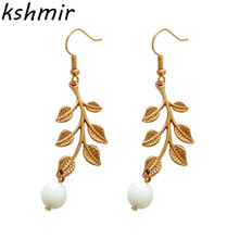 Earrings fashion exquisite The leaves geometric earrings Round pearl