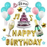 23 Pcs Kit Bandeira do Alfabeto Balões FELIZ ANIVERSÁRIO Folha De Alumínio Balões Para Decorações Da Festa de Aniversário Crianças Suprimentos