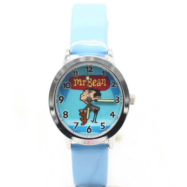 2018 new 1pcs kids leather watches children cartoon mr bean watch Clock boys Hou