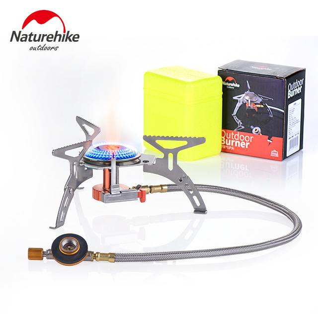 Naturehike Ultralight Camping Stove Portable Collapsible Outdoor Backpacking Gas Camp Stove Mini Cookware for Cookout Picnic