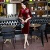 Shanghai Story Chinese Traditional Dress Velvet Oriental Style Dress 3 4 Sleeve Vintage Cheongsam Qipao Dress