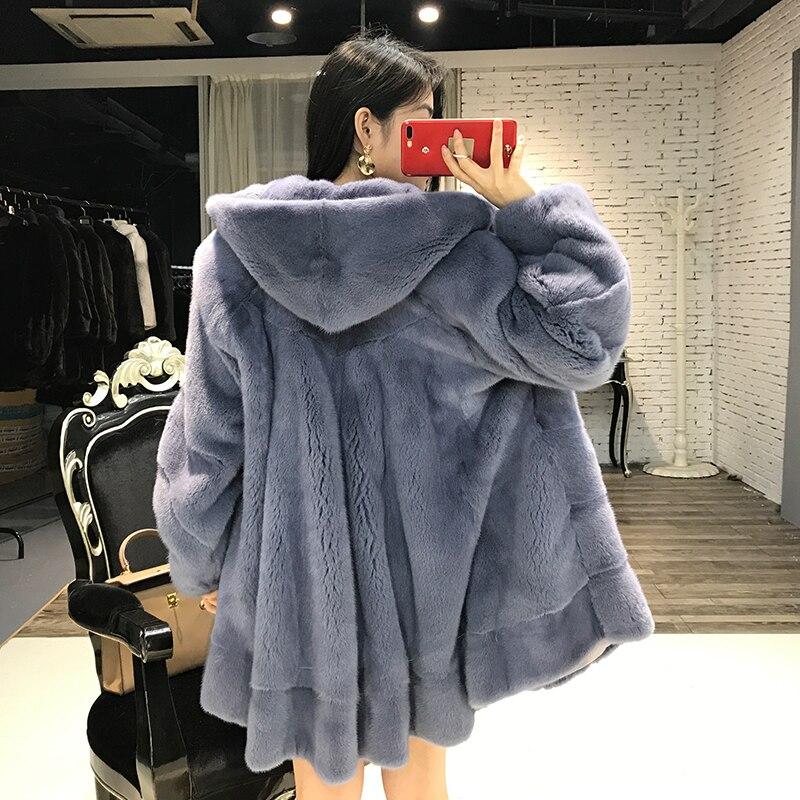Manteaux 100Naturel Taille De Femmes Face Épaississement Plus Mf337 Hiver Manteau 2018 À Vison Chaud Fourrure Outwear Capuchon Yolanfairy Double Blue black qUMVzSpG