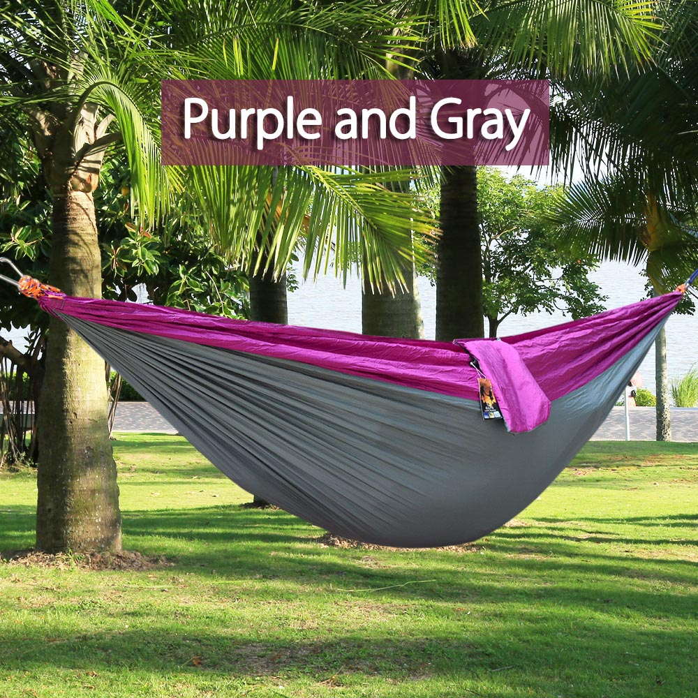 High Quality One Person Hammock Assorted Color Garden Swing Chair Nylon  Fabric Hammock With Strong Rope Outdoor Seating Hammock