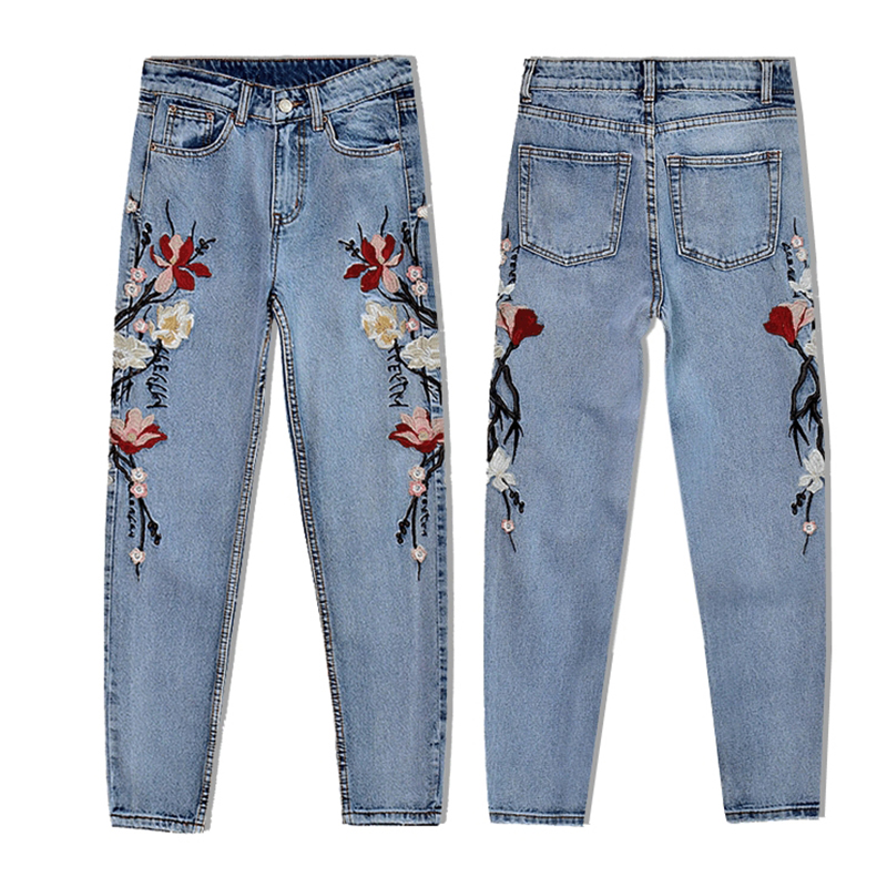 2017 New Hot Chic Women's Clothing Cotton Denim Jeans Pants High Waist 3D Embroidery Straight Ankle-length Pants Female Trousers (5)