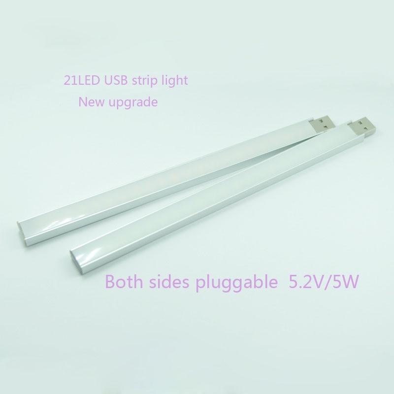 USBLEDstrip Mobile Power Source Light Super-bright 21LED Usb Light Barwith Lampshade Diy Led Lamp New 21LED Both Sides Pluggable