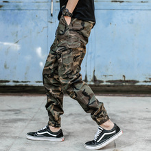 2018 autumn fashion men joggers jeans camouflage army pants black color punk style hip hop cargo trousers homme