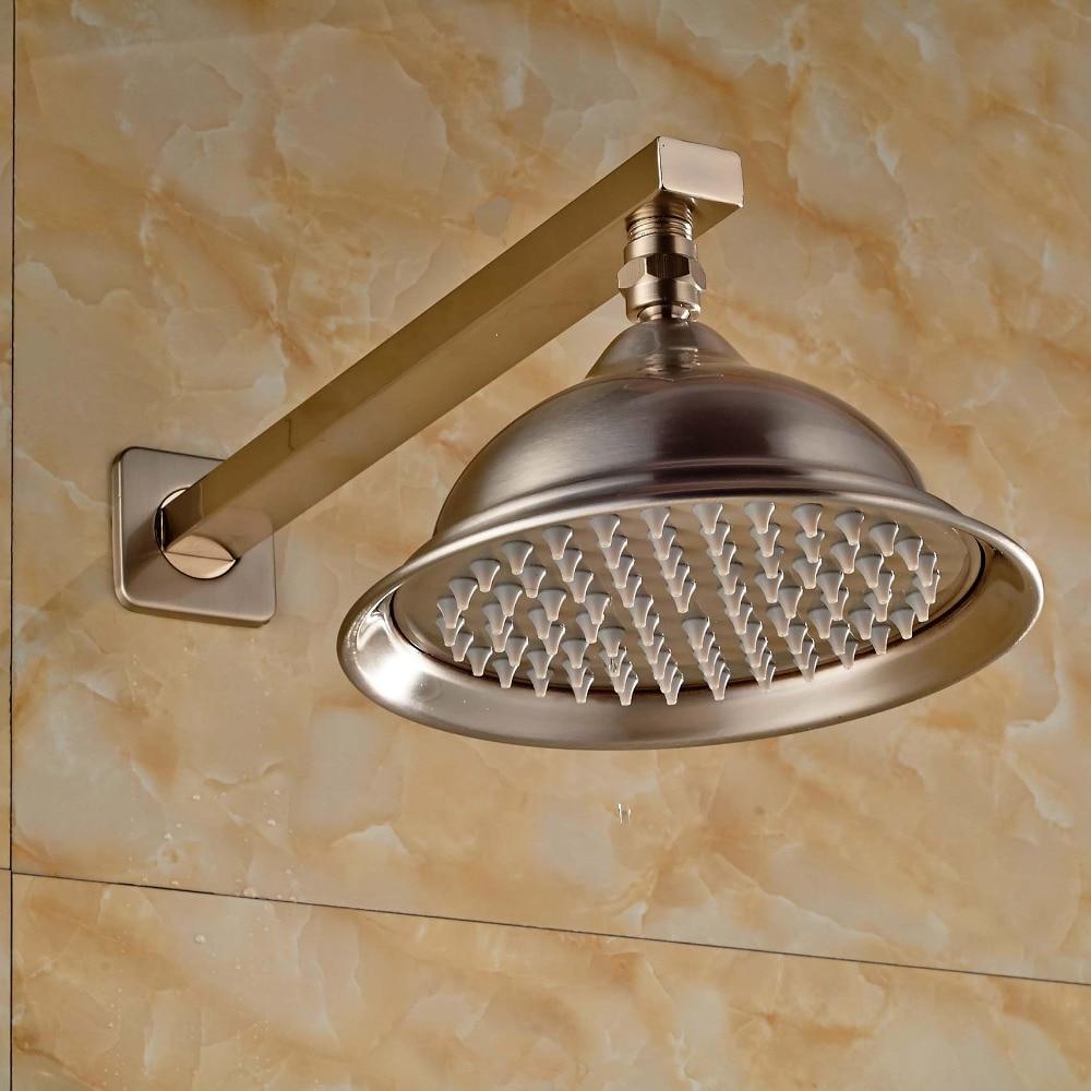 Nickel Brushed Bathroom 8 Round Rain Shower Head Wall Mounted with Shower Arm Top Shower Sprayer 12 led square rain shower head wall mounted shower arm w shower hose top over shower sprayer