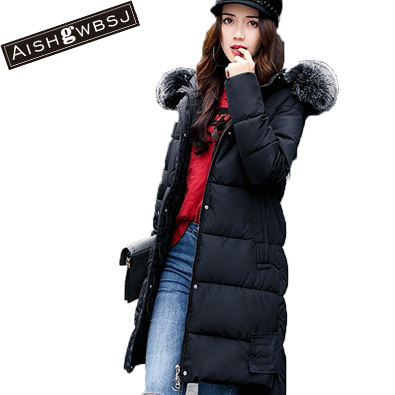 AISHGWBSJ Women Jackets With Hooded Long thicker Fur Collar Parkas Female Overwear 2017 New Winter Cotton Coats Korean PL150 aishgwbsj winter long coats women hooded padded cotton parkas female thicker 2017 new winter cotton warm overwear jackets pl127