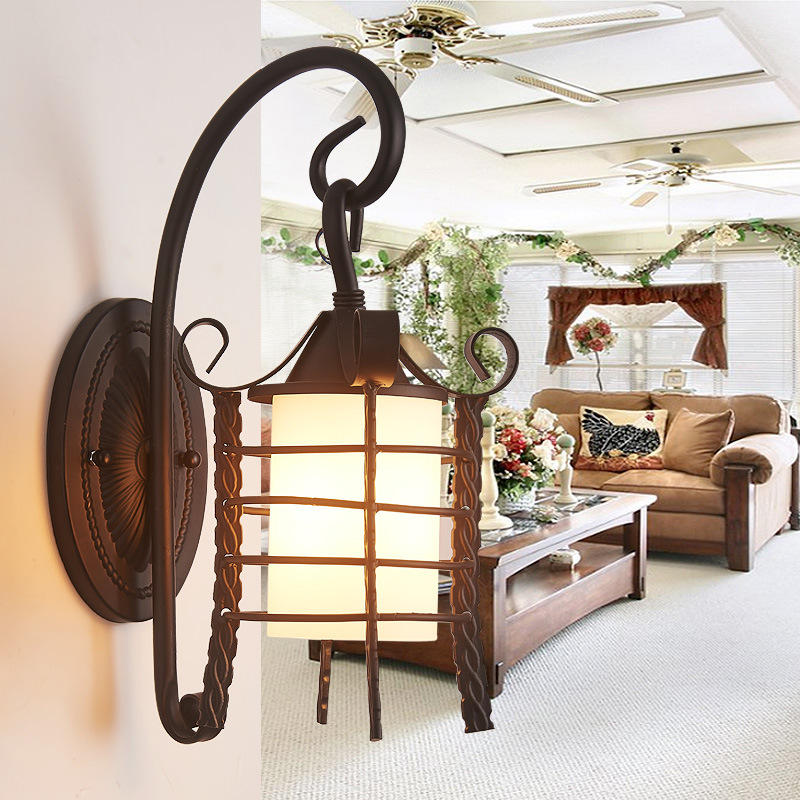 TUDA 18X40cm Free Shipping American Country Style Wall Lamp Retro Wrought Iron Wall Lamp for Corridor Decoration Wall Lamp E14